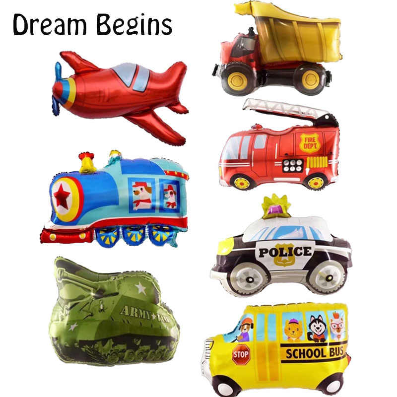 DB 5Pcs lot mini traffic car tank aircraft train police school bus fire truck vehicle boy toys party decoration birthday balloon