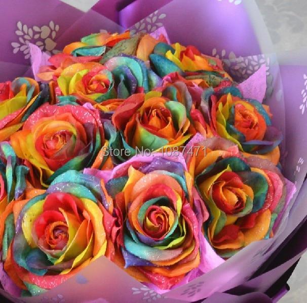 Buy 1 set 11pcs rainbow rose simulation for Where to buy rainbow roses