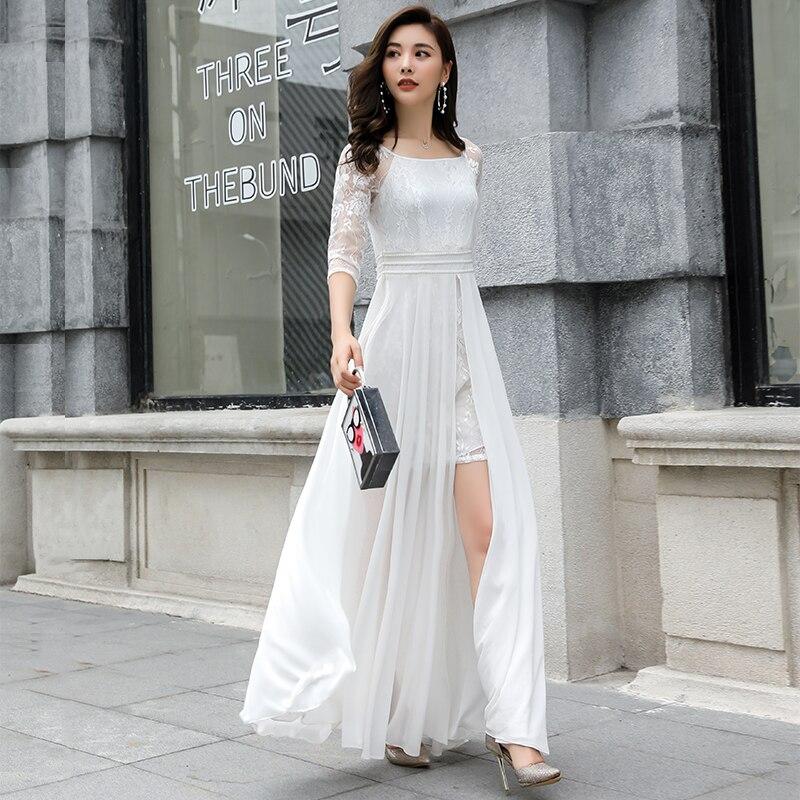 White Lace Jurken Zomer 2018 Nieuwe herfst lente zomer stevige vrouwelijke Chiffon Lange jurken