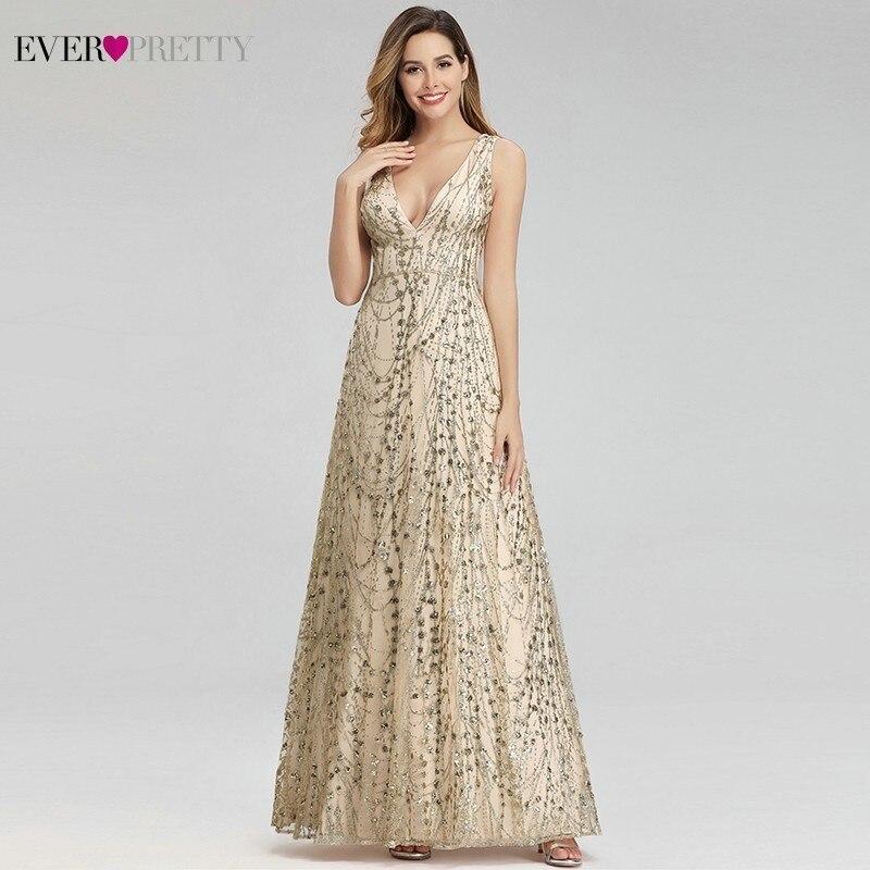Sexy Gold Dubai Evening Dresses Ever Pretty EP00985GD A-Line V-Neck Sequined Elegant Formal Dresses Abiye Gece Elbisesi 2020