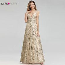 Seksi altın Dubai Abiye hiç güzel EP00985GD A-Line v yaka payetli zarif resmi elbiseler Abiye Gece Elbisesi 2020
