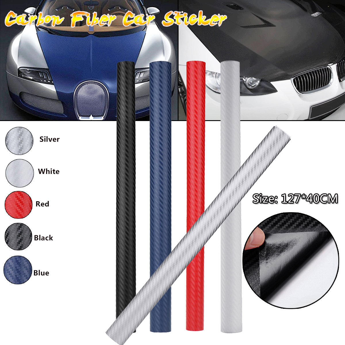 1PC 3D Carbon Fiber Auto Car Sticker DIY Vinyl Decal Wrap Roll Sheet Film 127 x 40cm car 3d pvc carbon fiber decoration sticker deep golden 30 x 127cm