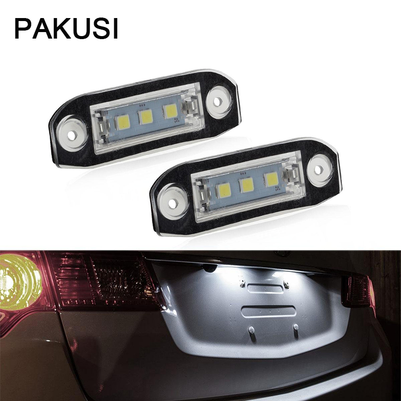 PAKUSI 1Pair Car LED License Plate Lights For <font><b>Volvo</b></font> XC90 S80 V70 S60 <font><b>XC60</b></font> S40 V50 <font><b>Accessories</b></font> White SMD5050 Lamp Bulb Kit 12V image