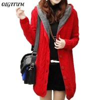 Spring Autumn New Cardigan Coat 2018 Women Long Section Twist Cardigan Sweater Coat Korean Version Thick