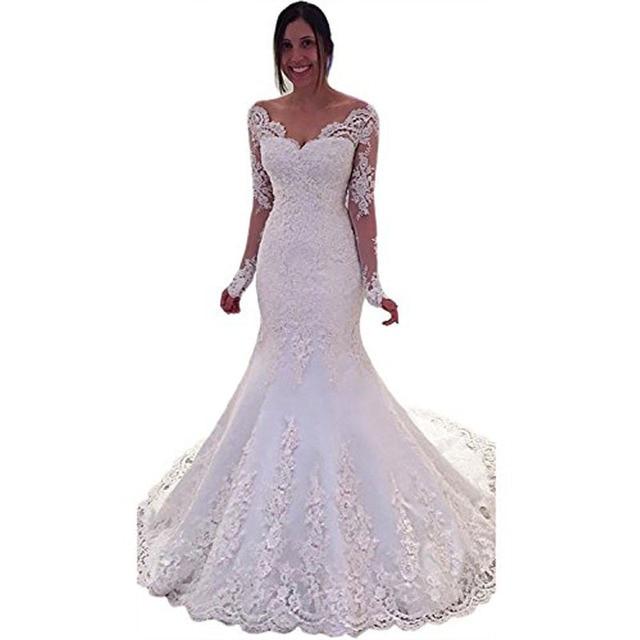 Vnaix X028 Y Lace Long Sleeve Mermaid Wedding Dresses Chapel Train Bridal Gowns