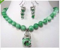Schöne farbe grün stein drachen anhänger halskette ohrring set>> stein uhr großhandel Quarz stein CZ kristall