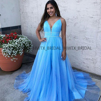 Blue Organza Long Prom Dresses Plus Size A Line Spaghetti Straps Pleats Girls Prom Dress 2019 Women Party Gown Formal Occasion