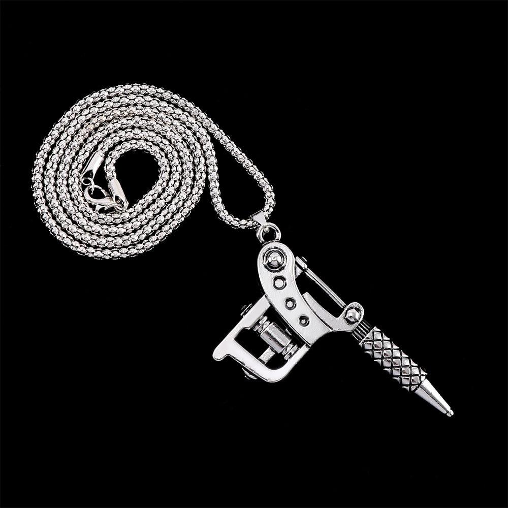1PC Creative Vintage Silver Color Mini Tattoo Machine Necklace Punk Style Tattoo Gun Pendant Necklace Women Men Hip Hop Jewelry(China)