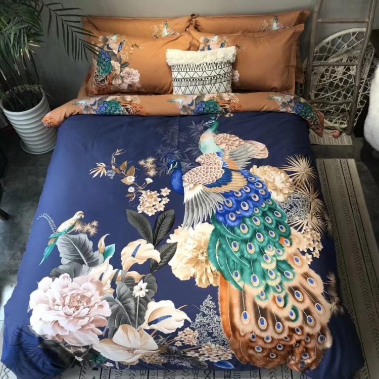 Luxe 100% coton bleu paon imprimé fleur ensembles de literie ponçage reine roi Animal housse de couette drap de lit ensemble taie d'oreiller 4 pièces