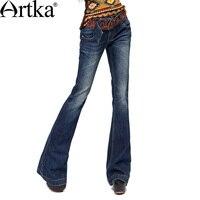 ARTKA Женская Осенняя винтажная натуральная талия тонкие однотонные плоские обтягивающие универсальные мягкие кожаные хлопковые джинсы