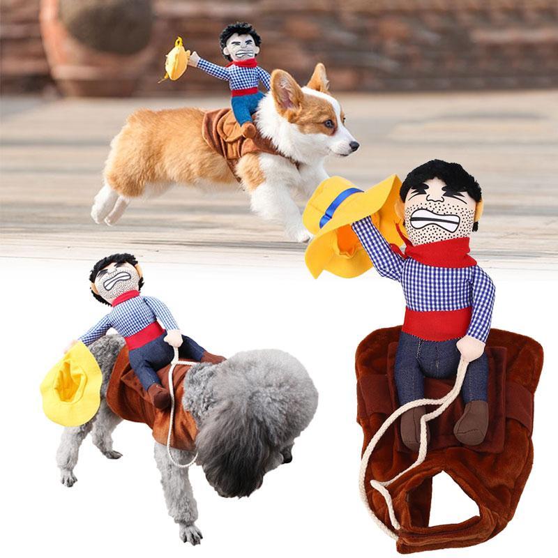 Drôle Pet Chiot Chien Cow-Boy Cavalier Vêtements D'hiver Manteau Vêtements Costume Ropa Para Perros Hondenkleding Manteau Chien