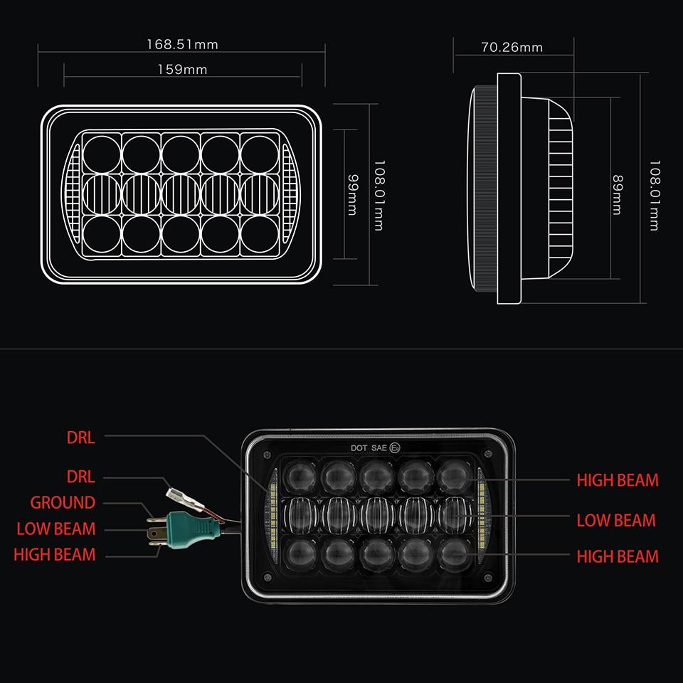 hight resolution of 4x6 sealed beam led headlight bulb 12v 24v truck light for peterbilt 5 inch 48w 4x6 rectangular led headlight with drl chrome in truck light system from