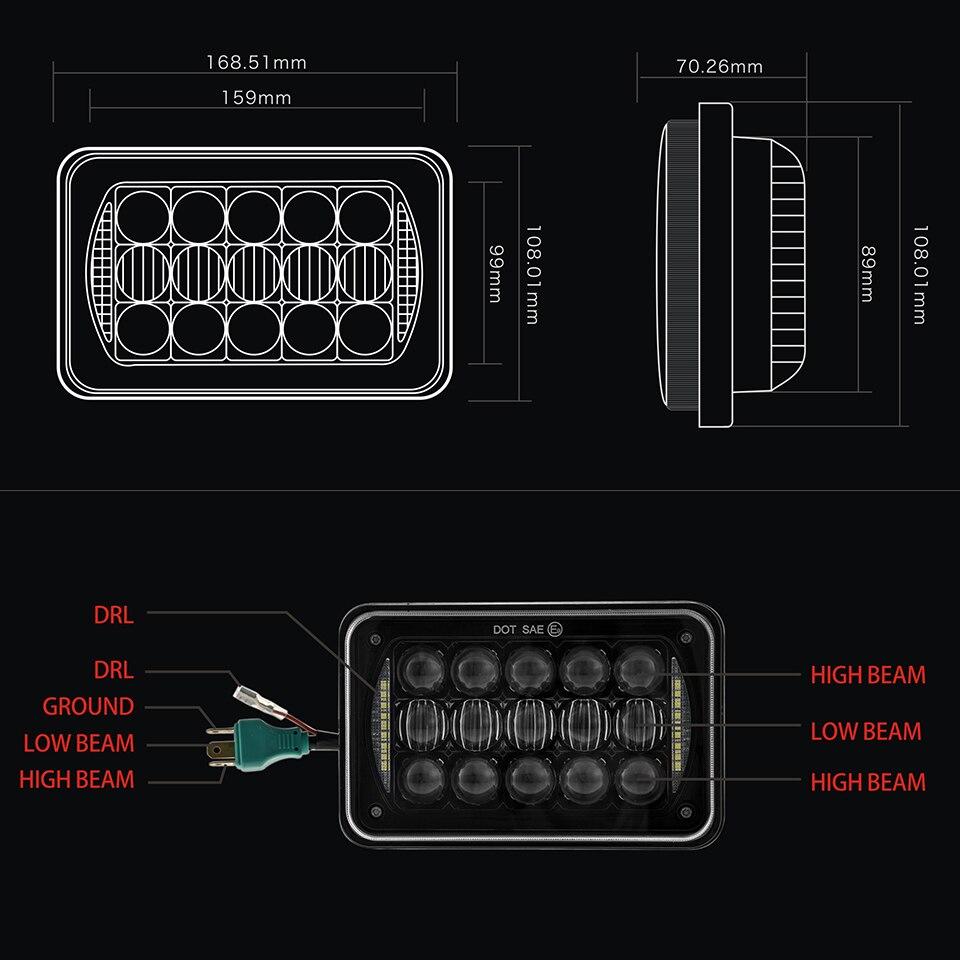 small resolution of 4x6 sealed beam led headlight bulb 12v 24v truck light for peterbilt 5 inch 48w 4x6 rectangular led headlight with drl chrome in truck light system from