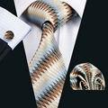LS-1008 Lazo Para Hombre Brown Novedad Moda 100% Seda Jacquard Tejida Corbata Pañuelo Mancuerna Conjunto Para Los Hombres Formales Del Banquete de Boda