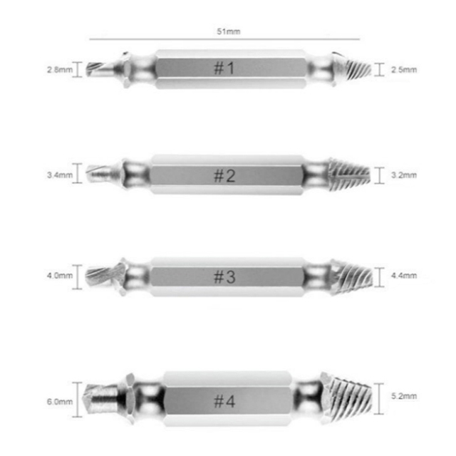 Free Shipping 4 pcs / set Screw Extractor Set drill out easy to Remove Screw broken Speedout Set