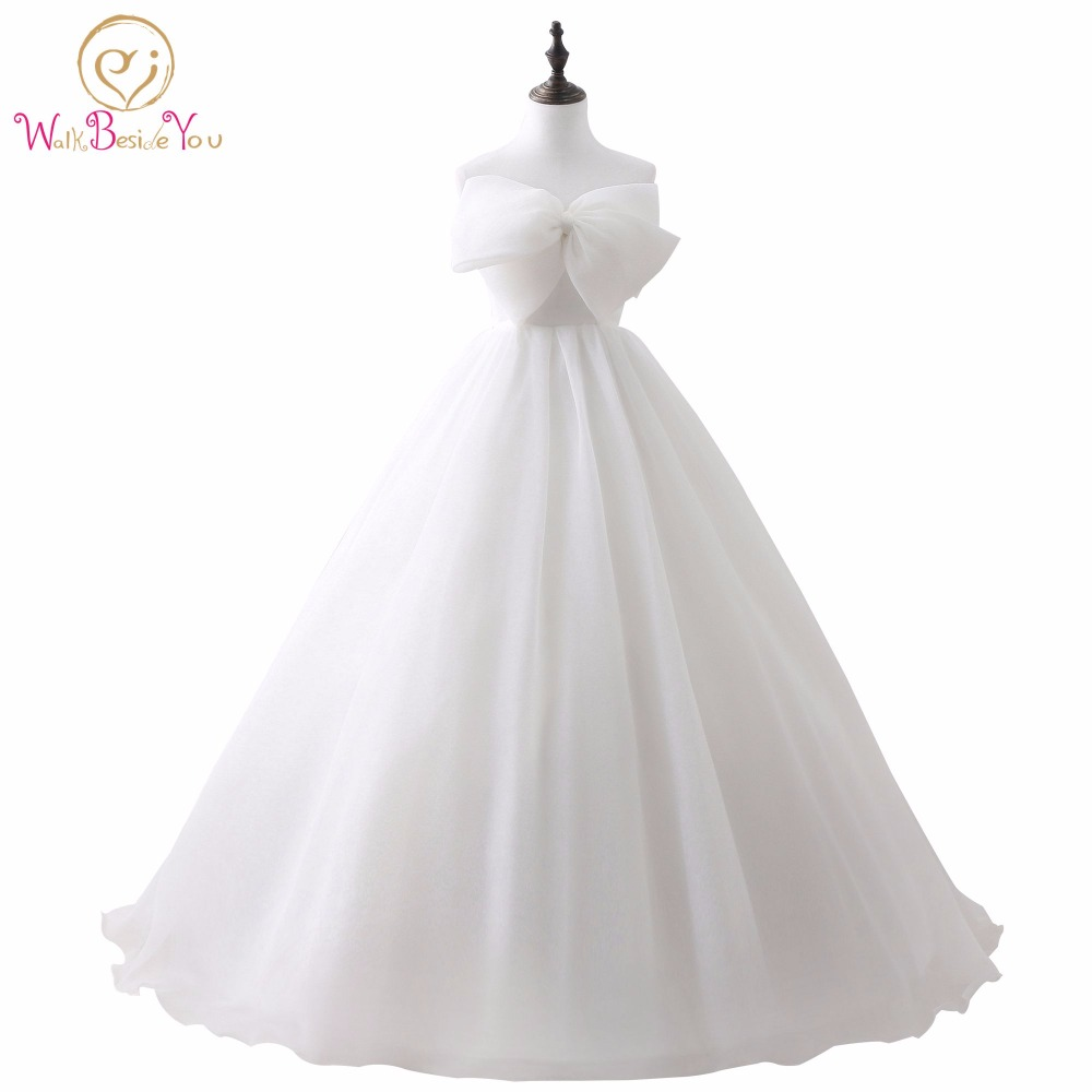 vestido de noiva simples Cheap White Ivory Ball Gown Wedding Dresses with Bow Sexy Lace Up