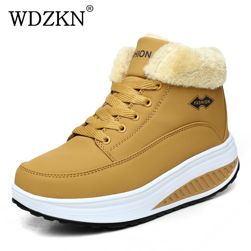 WDZKN New 2017 Women Snow Boots Comfortable Lace Up Ankle Boots For Women Winter Wedge Platform Boots Round Toe Fur Warm Shoes