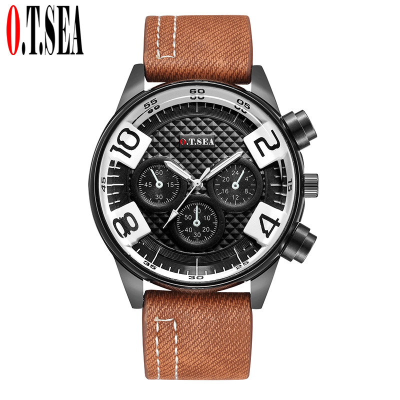 Luxury Brand O.T.SEA Leather Watches Men Military Sports Quartz Wrist Watches Reloj Hombre 4115