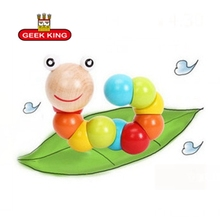 0-3 years old Early childhood teaching twists and turns insects puzzle wooden toys baby exercise caterpilla education Math Toys