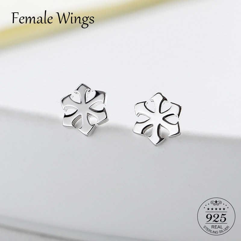 8cbe156ae Female Wings 925 Sterling Silver Snow Flowers Stud Earrings for Women Ear  Studs Earings Simple Silver