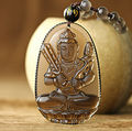 High Quality Unique Natural Ice Black Obsidian Carved Buddha Guanyin Lucky Amulet Pendant Necklace For Women Men pendants Jade