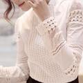 Las nuevas Mujeres de Primavera Y Otoño Camisa Delgada de Encaje de Manga Hueca camisas Blusas de Manga Larga OL Blusas Moda Camisas Blancas Mujeres ropa