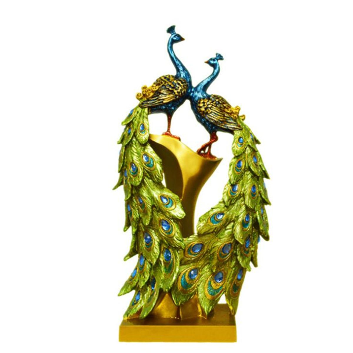 Traditional Chinese Peacock Couple Sculpture Lovers Peacock Statue Mascot Craft Ornament Decoration Valentine's Day Gift