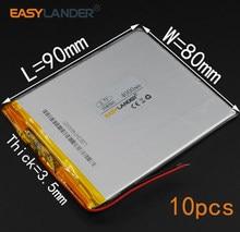 10 шт./лот 3,7 V 4000mAh 358090 литий-полимерный литий-ионный аккумулятор для (7 8 9 дюймов планшетный ПК) Soulycin S18 PDA Onda V802
