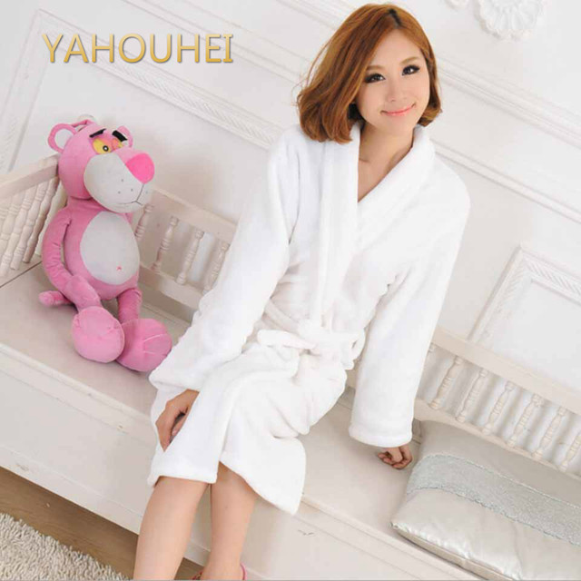 Long Casual Unisex Winter Warm Dressing Gown Women and Men White Robes White  Cotton Twist Towel Bathrobe Dressing Gown Bath Robe e80657417