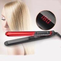 送料無料lcdディスプレイ2イン1セラミックコーティング髪ストレート櫛髪カーラー美容鉄健康美容