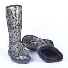 Free Shipping Australia Boots 2016 Fur Leather Boots Mid-calf Boots Black Winter Warm Women Leopard Add Wool Snow Boots