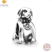 Wybeads 925 cuentas de plata esterlina encantos perro lindo con el cristal europea bolas de ajuste pulsera brazalete original fabricación de joyas