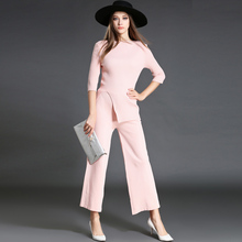 Europe Fashion 2 Peice Set Woman Pink Knitted Shirt +Wide Leg Pants Suit 2016 Autumn Two Piece Set Conjunto Feminino 72066