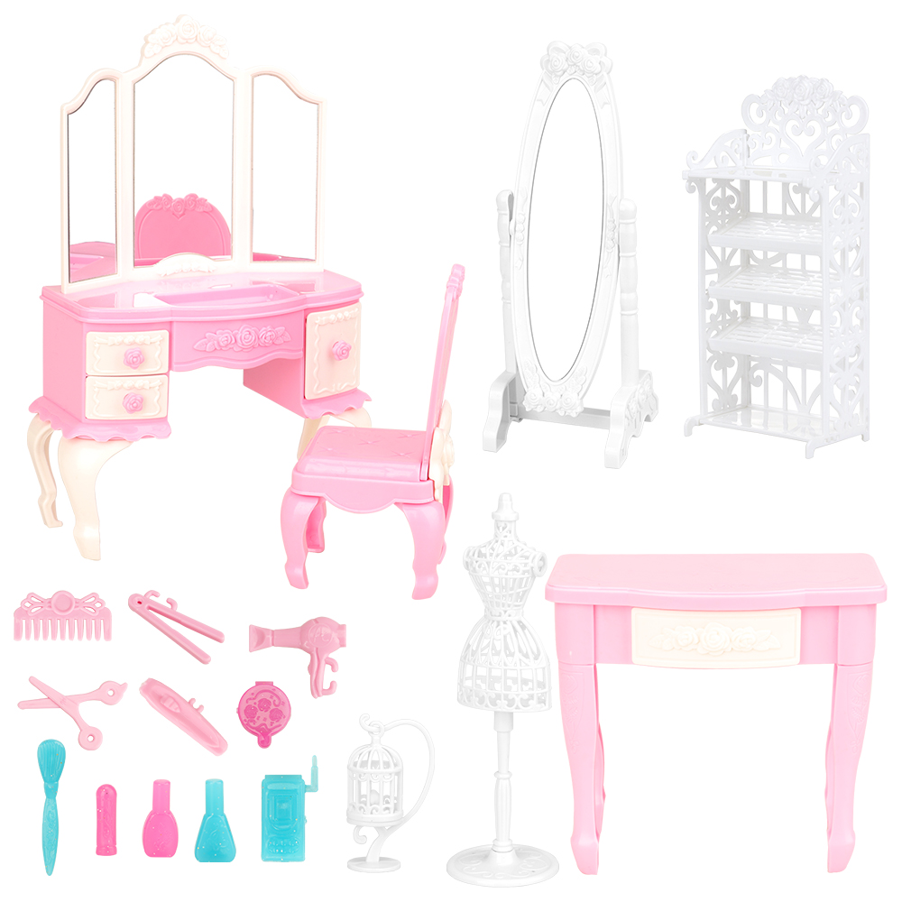 Newest Mix Doll Plastic Furniture 18 Items/lot Chair Desk Mirror Mini Toy Accessories For Barbie Doll Makeup Dressing Play House