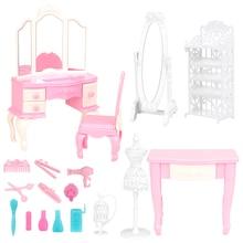 Accesorio para casa de muñecas 18 artículos/lote accesorios para casa Dolll = silla escritorio espejo Mini muebles para Barbie juego de maquillaje