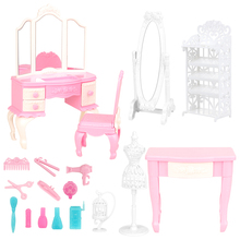 цены на Newest Mix Doll Plastic Furniture 18 Items/lot chair desk mirror Mini Toy Accessories For Barbie Doll makeup dressing Play House  в интернет-магазинах
