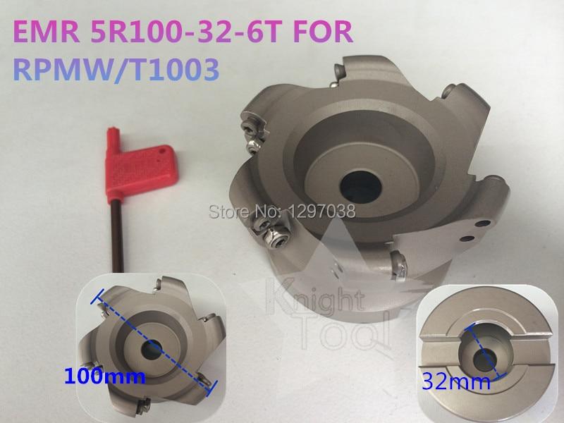 EMR 5R100-32-6T Round Dowel Face Mill Cutting diameter 100mm RPMW1003 Inserts цена