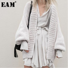 [EAM] 2019 New Spring Fashion Long Batwing Sleeve V-neck Big Size Oversize Knitting Keep Warm Thickening Open Stitch Woman BL812(China)