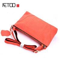 AETOO New fashion women shoulder bag genuine leather serpentine handbag casual samll summer bag orange cowhide leather bag women