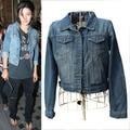 Cool Women Girl Vintage Style Denim Coat Boyfriend long Sleeve Casual Fashion Frayed Jean Jacket