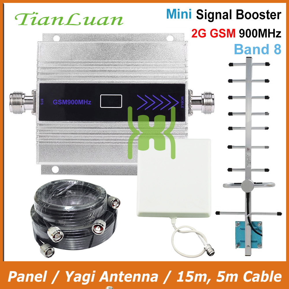 TianLuan Signal Booster 2G GSM 900MHz Mobile Phone Signal Repeater GSM Amplifier with Yagi Antenna / Panel Antenna/ 15m 5m Cable