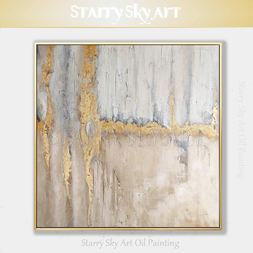 Best Selling Pure Hand-painted Thick Textured Abstract Oil Painting on Canvas Pop Fine Art Abstract with Gold Foil Oil Painting