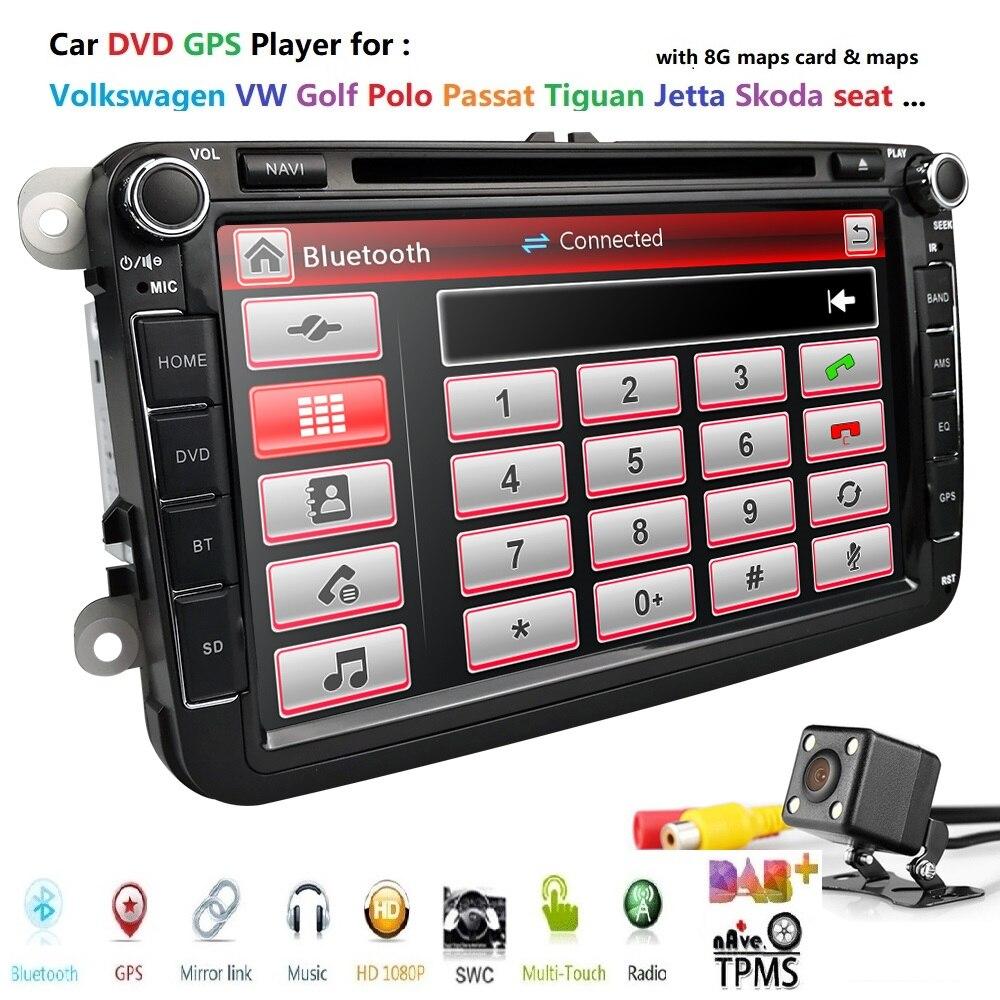 Autoradio lecteur DVD 8 pouces pour Volkswagen V W golf 6 touran passat B7 sharan Lavida polo tiguan BT carte carte gratuite + caméra arrière