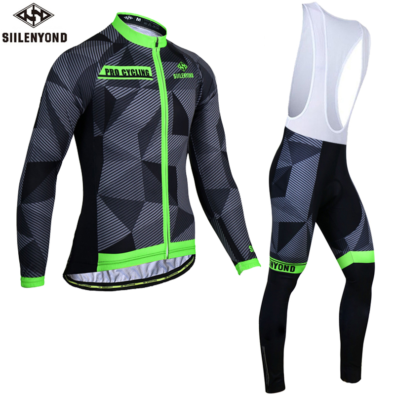 Siilenyond 2019 Winter Thermal Cycling Jersey Sets Shockproof Mountain Bike Cycling Clothing Suit Racing Bicycle Cycling