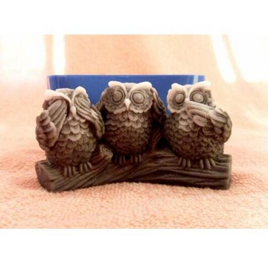 3D Owl Moldes de silicona Owl Jabón Moldes Owls Silicone Jabones Moldes Owls Gel de sílice Die Bird Aroma Piedras moldes Bird Candle Mould