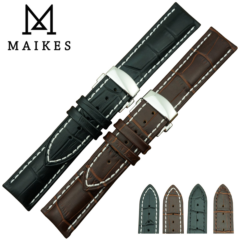 MAIKES New Arrival Men & Women Genuine Leather Watch Strap And 316L Stainless Steel Butterfly Buckle watch band maikes new product durable genuine leather watch band 19mm 20mm 22mm black casual watch strap stainless steel buckle for tissot