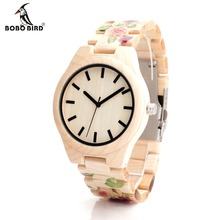 BOBO BIRD Rose Flower Print Women or Men Maple Wood ladies Quartz Wrist watches bamboo Wood Band as Gift Free Shipping