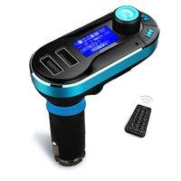 3 Kolory Bluetooth Zestaw Głośnomówiący Zestaw Samochodowy Odtwarzacz MP3 z Nadajnikiem FM podwójny Wyświetlacz LCD USB Car Charger for IPhone Samsung Smart telefon