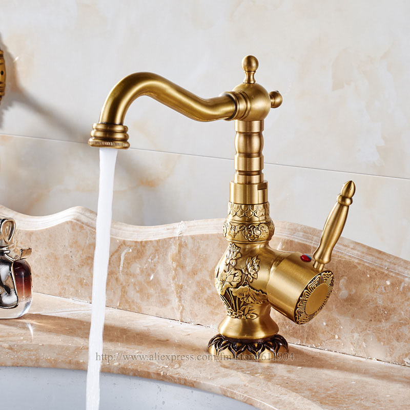 High Quality Deck Mounted Single Handle Bathroom Sink Mixer Faucet/ crane/ tap Antique Brass Hot and Cold Water Mixer Taps retro antique brass bathroom kitchen faucet single handle single hole rotation spout deck cold and hot water mixer sink tap