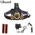Z50 Led Headlight Zoom headlamp 7000LM Rechargeable Headlamp Head Torch XM-L T6+2Q5 headlaight+2batteries+AC charger+Car charger